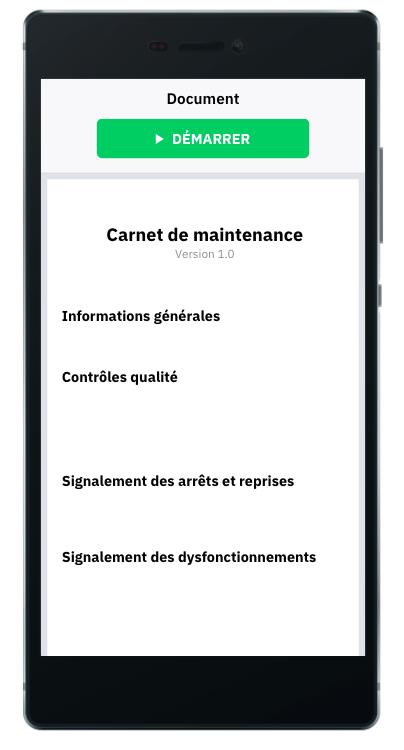 carnet de maintenance. formulaire digital